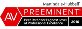 AV Preeminent | Peer Rated for Highest Level Of Professional Excellence 2016