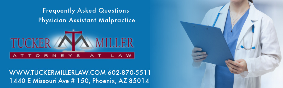Graphic stating Frequently Asked Questions Physician Assistant Malpractice