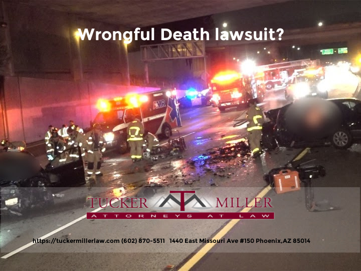 Graphic stating Wrongful Death Lawsuit Tucker Miller Law 602-870-5511