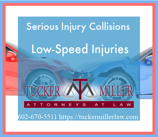Graphic stating Serious Injury Collisions Low-Speed Injuries