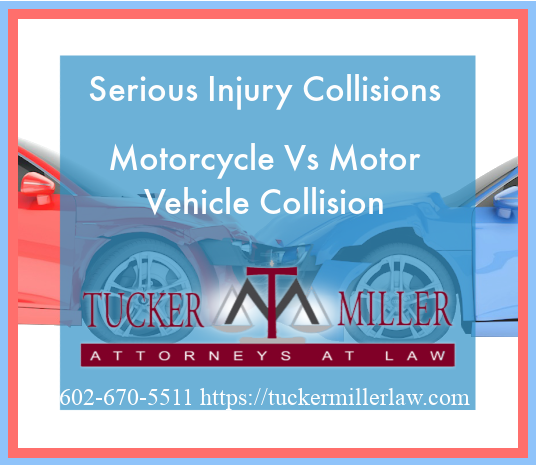 Graphic stating Serious Injury Collisions Motorcycle Vs Motor Vehicle Collision
