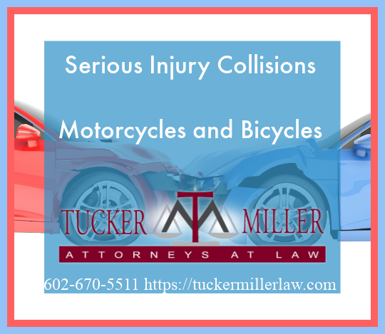 Graphic stating Serious Injury Collisions Motorcycles and Bicycles
